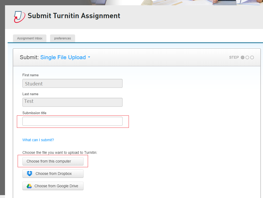Step 3 of 6: Enter the title of your assignment and click the 'Choose from this computer' button to browse and upload the file from your computer.