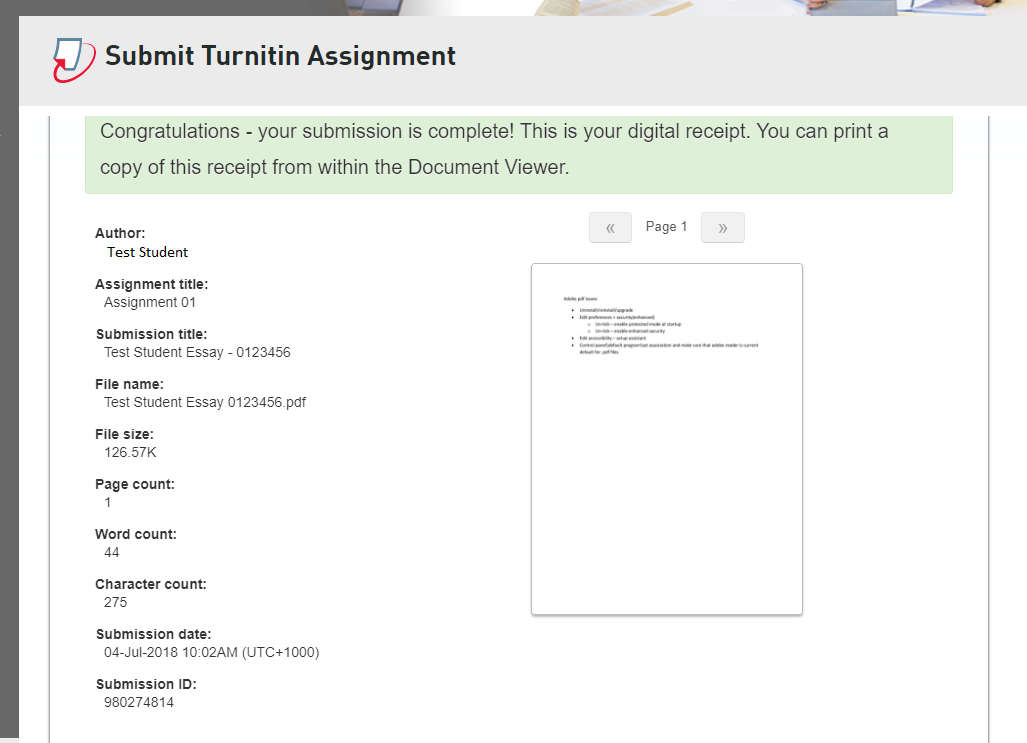 Step 6 of 6:You should now see a message saying the submission is successful. Keep a record of your 'Submission ID'. Turnitin will also send you an email confirmation after receiving a successful submission. IMPORTANT: If you cannot see this page then the file was never actually submitted to Turnitin. Keep the copy of Turnitin email as a proof of your submission.
