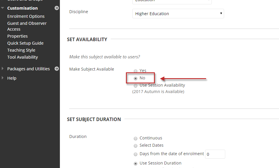 Step 3 of 4: In the Properties page, scroll down to the Set Availability section and select the No option. Click on the Submit button to save your changes.