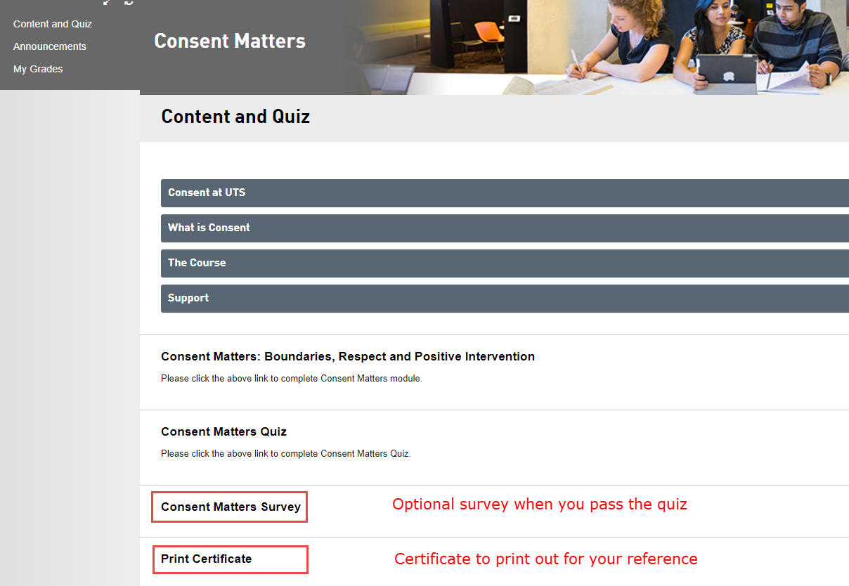Step 5 of 5: Once the quiz is complete you will see a link for an optional survey to complete. You will also have the option to print the completion certificate and you can use this as proof of completion if needed
