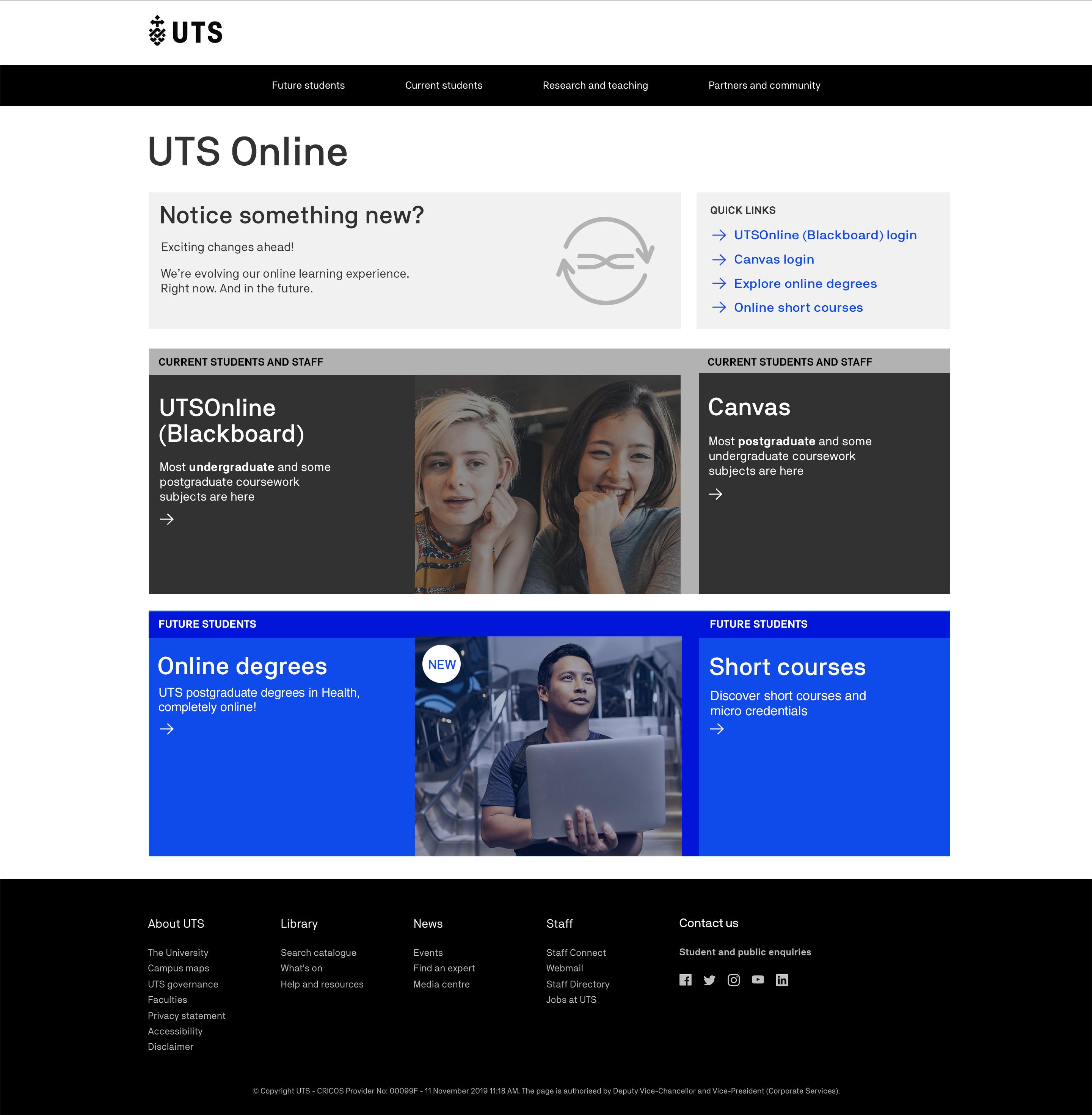 Change to online.uts.edu.au landing page - UTSOnline Help