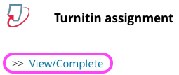 The heading 'Turnitin assignment' followed by a link that reads 'View/Complete'