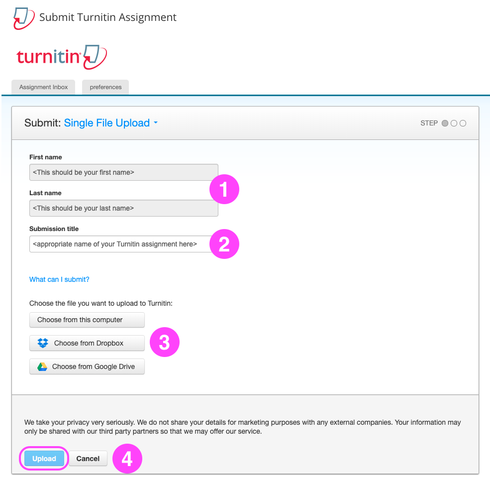 A Turnitin submission form as it appears in UTS Online (Blackboard). The form displays your first name, last name and a box to enter a submission title. There are three options for choosing a file. Finally links to Upload or Cancel the submission.