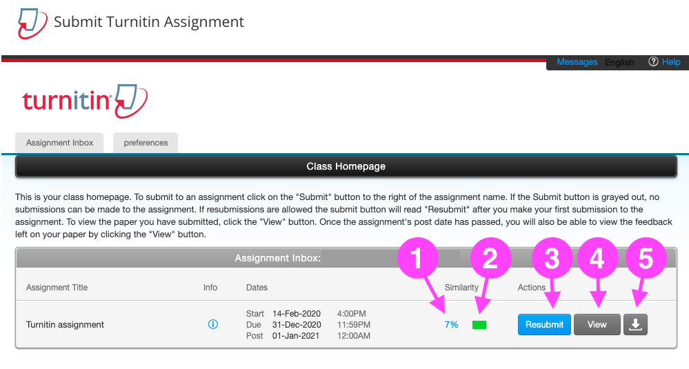 The Turnitin Assignment Inbox as it displays after you have successfully submitted an assignment. It displays an assignment title, dates, similarity percentage, and a coloured similarity indicator, followed by links to Resubmit, View or Download your assignment.