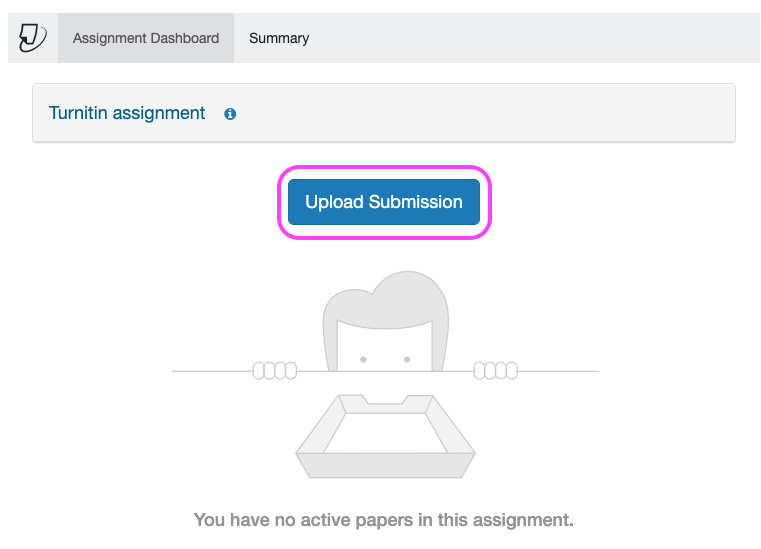 An embedded Turnitin window within a Canvas Assignment page. At the top of the window is a tab headed 'Assignment Dashboard'. In the middle of the window is a link to 'Upload Submission'.