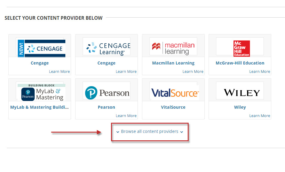 Step 2 of 7: If the LinkedIn Learning provider is already listed on the Content Market page under the Used In This Subject heading, select it and skip to Step 4. Otherwise, scroll down and select Browse all content providers.